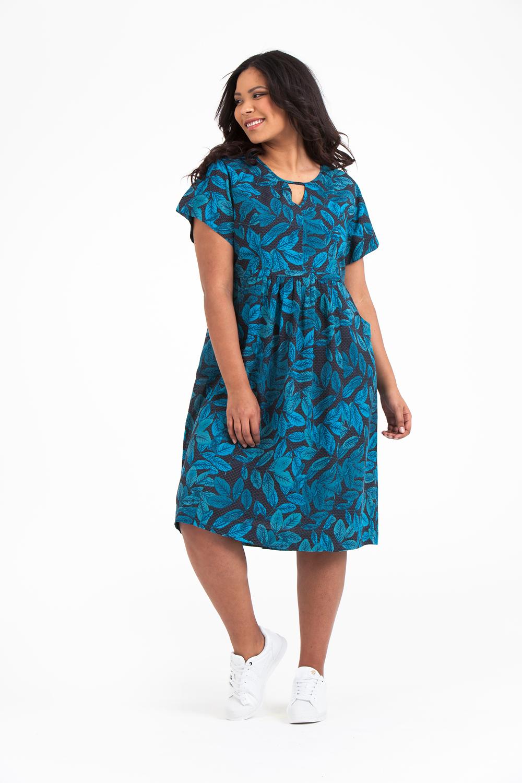 Noor klänning Leaf blå.